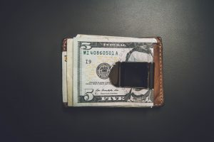 A wallet with cash